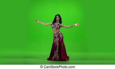 powoli taniec, screen., dance., ruch, zielony, brzuch
