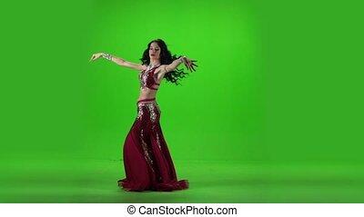 powolny, ładny, taniec, młody, dance., ruch, zielony, brzuch, screen., dziewczyna