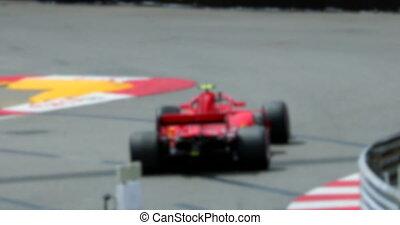 powolny, ślad, wóz, jeden, ruch, prąd, formułka, szybkość, czerwony