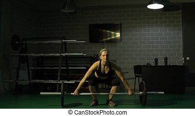 powolny, bar, wychwytywacz, ruch, gym., dziewczyna, silny, marki