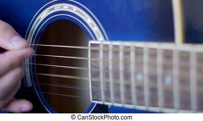 powolny, guitar., ruch, akustyczny, interpretacja, człowiek