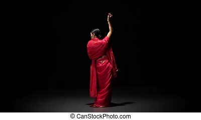 powolny, motion., prospekt, brzuch, dziewczyna, błyszczący, sexy, taniec, tło, czerwony czarnoskóry, strój, wstecz