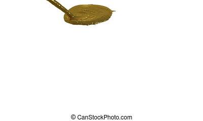 powolny, płyn złoty, potok, powierzchnia, w razie, ruch