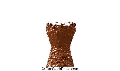 powolny ruch, czekolada, kakao, gorący, plamy, alfa, albo
