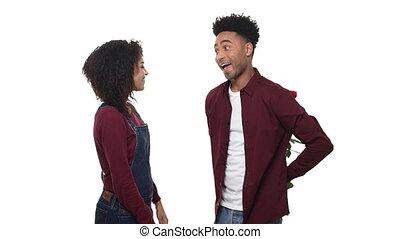 powolny ruch, młody, afrykanin amerykański człowiek, niespodzianka, jego, sympatia, z, róża, na, urodziny, albo, anniversary.