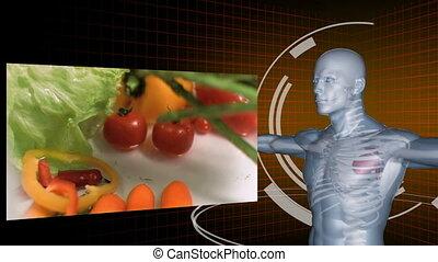 powolny ruch, od, warzywa, magnetowidy