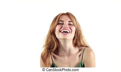 powolny ruch, tło., aparat fotograficzny., uśmiech, biały, ...
