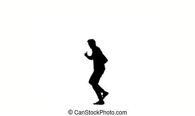 powolny, ruchy, taniec, ruch, młody, zarośla, biały, sylwetka, biodro-skaczą, człowiek