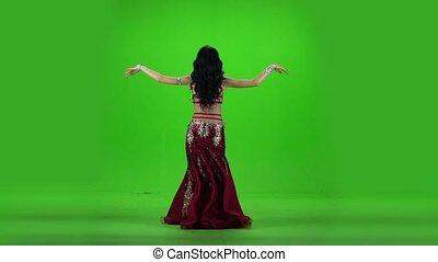 powolny, spełnianie, dance., ruch, tło., zielony, brzuch, dziewczyna