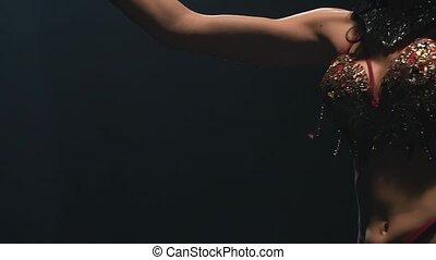 powolny, stage., taniec, motion., do góry, arab, tło., ...