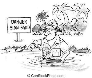 powolny, tonie, niecierpliwy, piasek, powoli, człowiek