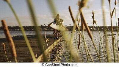 poza, łódka, samiec, wioślarz, jezioro, drużyna, wpływy