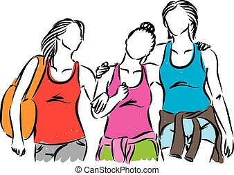 poza, kobiety, grupa razem, wisząc