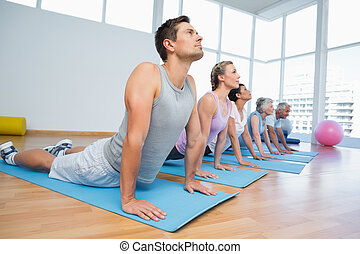 poza, kobra, yoga, hałas, grupa, klasa
