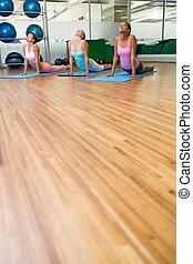 poza, kobra, yoga klasa, stosowność, studio