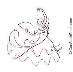 poza, tancerz, flamenco, pełen wyrazu, rysunek, gest