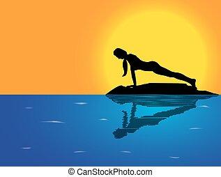 poza, yoga, deska, tło, morze