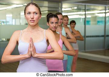 poza, yoga, drzewo, klasa, stosowność, studio