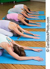 poza, yoga klasa, dzieci, stosowność, studio