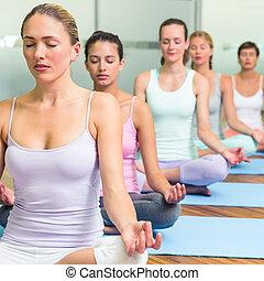 poza, yoga klasa, lotos, stosowność, studio
