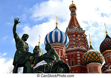 pozharsky, und, minin, denkmal, und, kathedrale, von, vasily, gesegnet, in, moskauer , russland