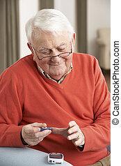 poziom, kontrola, cukier, krew, dom, starszy człowiek