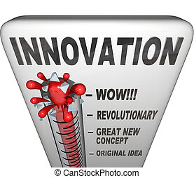 poziom, termometr, -, inwencja, innowacja, nowy, miarowy