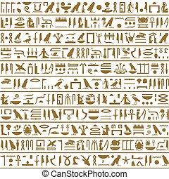 poziomy, starożytny, egipcjanin, seamless, hieroglyphs