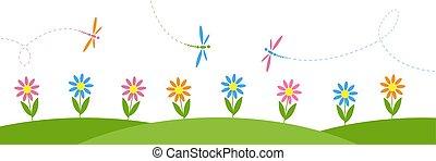 poziomy, wektor, kwiaty, tło, dragonflies