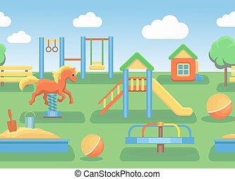 poziomy, wektor, plac gier i zabaw, ilustracja, seamless