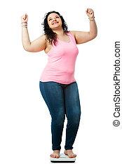 pozitív, leány, túlsúlyú, scale., diéta