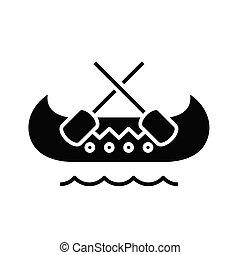 poznaczcie., czarnoskóry, płaski, ikona, odbywanie podróży morskiej, ilustracja, symbol, pojęcie, wektor, glyph