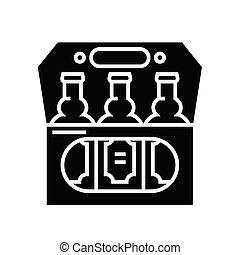 poznaczcie., czarnoskóry, płaski, ikona, piwo, ilustracja, symbol, pojęcie, wektor, glyph