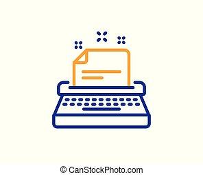 poznaczcie., dokumentacja, wektor, kreska, icon., maszyna do pisania