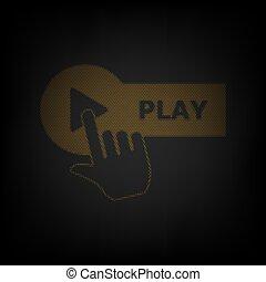 poznaczcie., guzik, bulwa, ręka, illustration., mały, gra, ruszt, lekki, pomarańcza, darkness., ikona