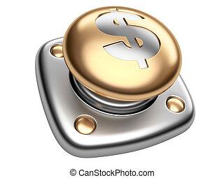 poznaczcie., handlowy, złoty, guzik, dolar, do góry, początek, concept.