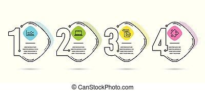 poznaczcie., icons., handel, wektor, notatnik, infochart, litera, poczta, strategia