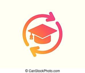 poznaczcie., kontynuowanie, wektor, online, icon., wykształcenie