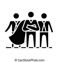 poznaczcie., lider, czarnoskóry, handlowy, płaski, ikona, ilustracja, symbol, pojęcie, wektor, glyph