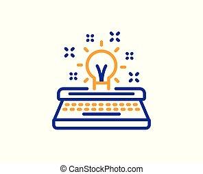 poznaczcie., twórczość, wektor, kreska, icon., maszyna do pisania