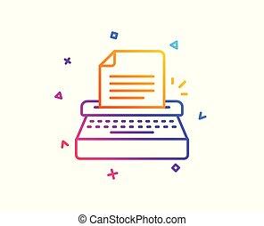 poznaczcie., wektor, copywriting, icon., kreska, maszyna do pisania
