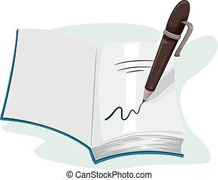 poznamenat, kniha, nechráněný, autograf