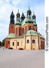 Poznan, Poland - city architecture. Greater Poland province (Wielkopolska). Roman Catholic Cathedral.