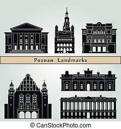 Poznan landmarks and monuments isolated on blue background in editable vector file