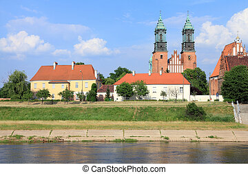 Poznan, Poland - city architecture. Greater Poland province (Wielkopolska). Cityscape with the cathedral and Warta river.