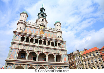 Poznan, Poland - city architecture. Greater Poland province (Wielkopolska). Famous old City Hall at main square (Rynek).