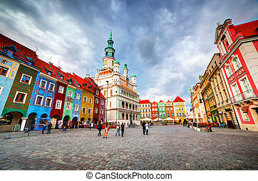 Poznan, Posen market square, old town, Poland. Town hall and...