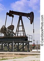 pozo de petróleo, en, el, azul, sky.