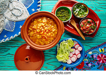 Pozole with mote big corn stew from Mexico with ingredients ...