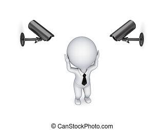 pozorování, cameras, person., tlak, malý, 3